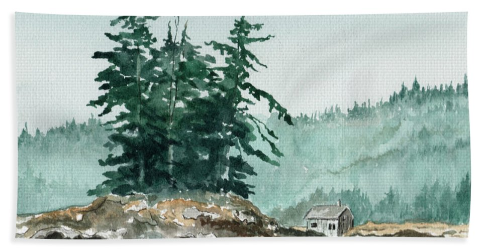 Landscape Watercolor Scenery Scenic Nature Wilderness Cabin Shack Trees Water Rural Bath Towel featuring the painting Sometimes A Great Notion by Brenda Owen