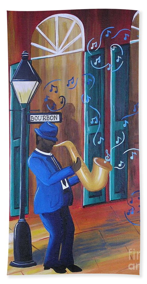 Bourbon Street Hand Towel featuring the painting Somewhere On Bourbon Street by Valerie Carpenter