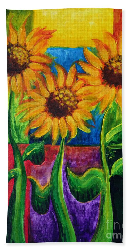 Giant Flowers Bath Sheet featuring the painting Sonflowers II by Holly Carmichael