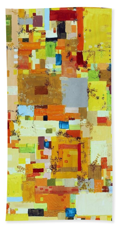 Abstract Bath Sheet featuring the painting Song Of Solar Fusion by Regina Valluzzi