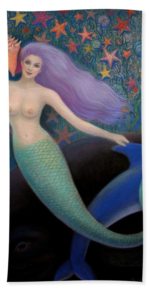 Mermaid Bath Sheet featuring the painting Song Of The Sea Mermaid by Sue Halstenberg