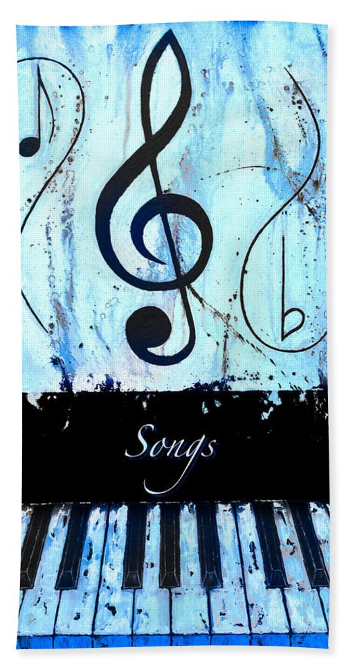 Songs - Blue Bath Sheet featuring the mixed media Songs - Blue by Wayne Cantrell