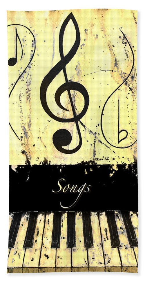 Songs - Yellow Hand Towel featuring the mixed media Songs - Yellow by Wayne Cantrell