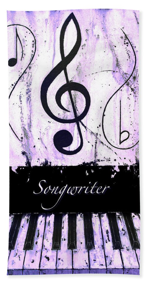 Songwriter - Purple Hand Towel featuring the mixed media Songwriter - Purple by Wayne Cantrell