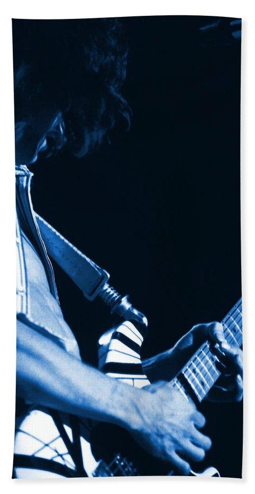 Van Halen Bath Sheet featuring the photograph Sonic Blue Guitar Explosions by Ben Upham
