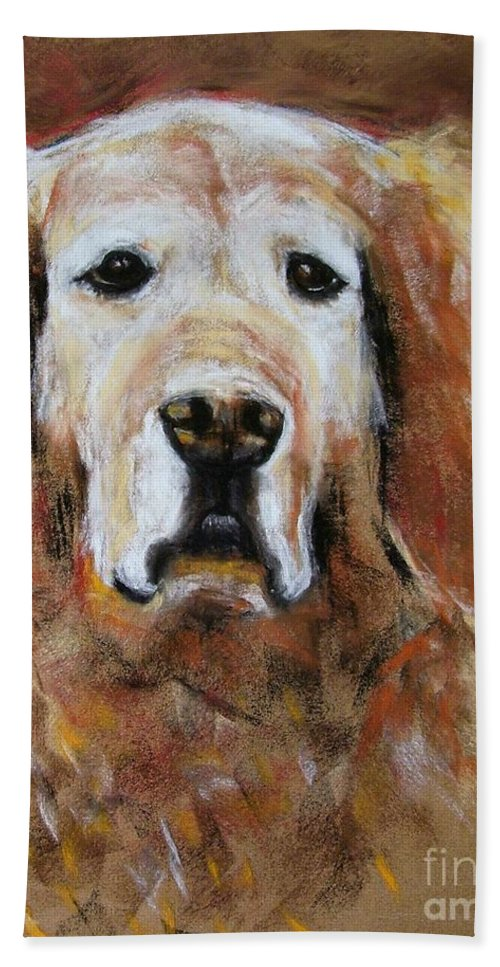 Golden Bath Towel featuring the painting Sonny by Frances Marino