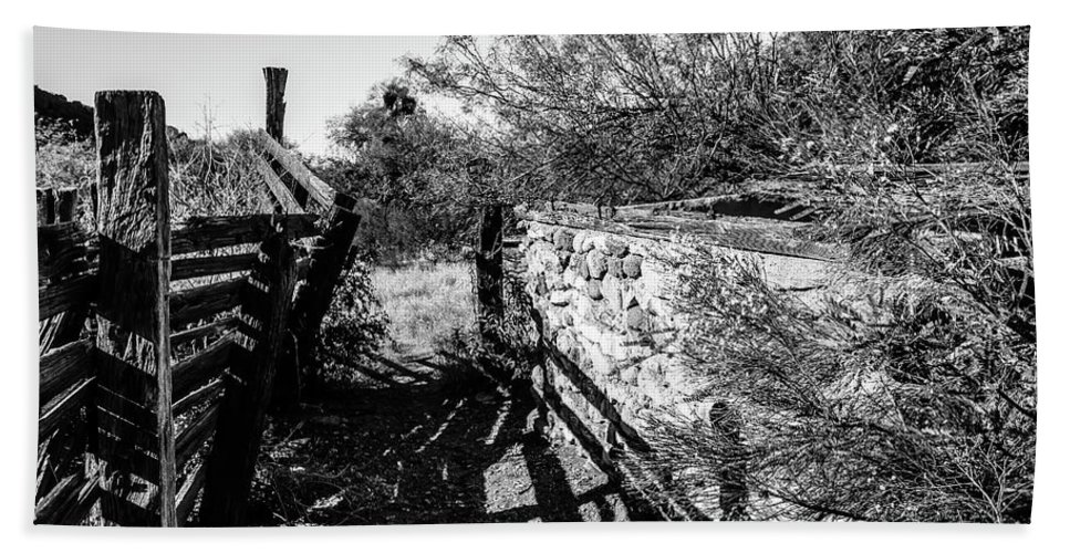 Alamo Hand Towel featuring the photograph Sonoran Ghost Corral by Cary Leppert