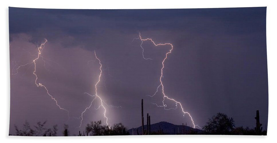 Lightning Hand Towel featuring the photograph Sonoran Storm by James BO Insogna