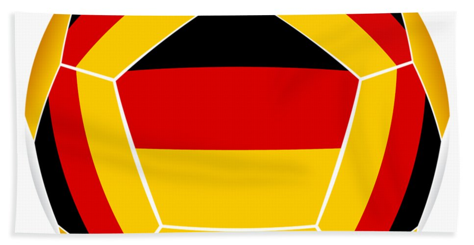 German Bath Sheet featuring the digital art Soocer Ball With Germany Flag by Michal Boubin
