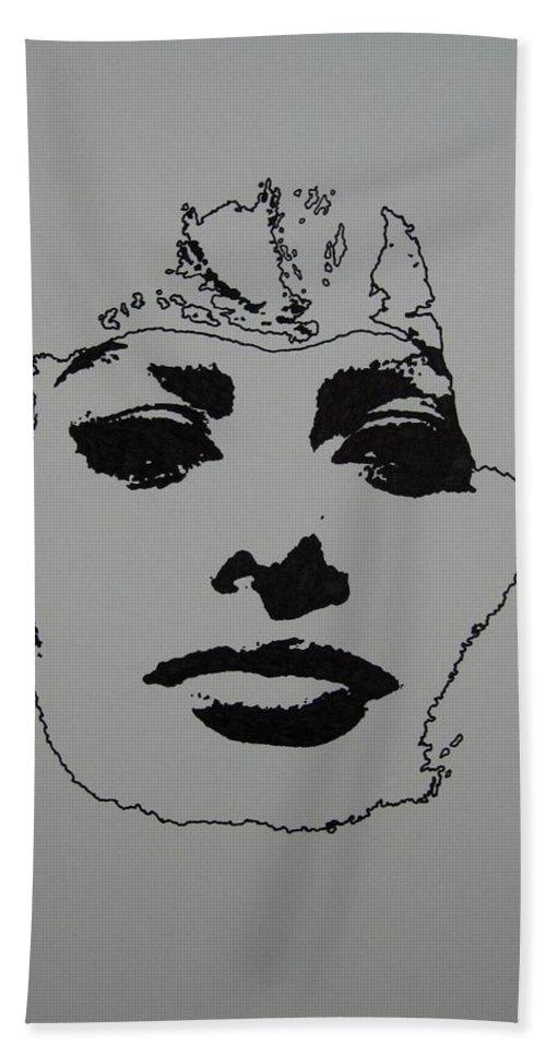Sophia Hand Towel featuring the drawing Sophia by Lynet McDonald