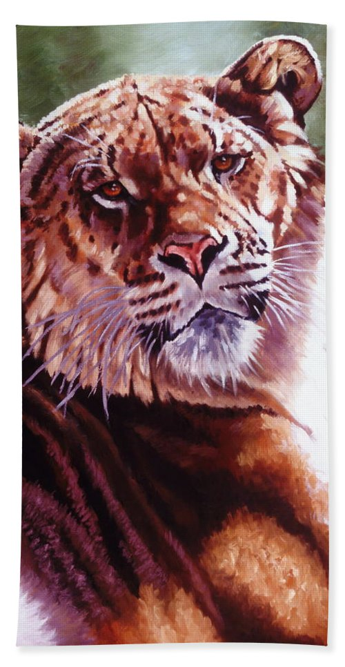 Hybrid Bath Sheet featuring the painting Sophie The Liger by Barbara Keith