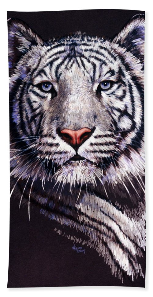 Tiger Bath Towel featuring the drawing Sorcerer by Barbara Keith