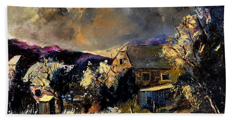 Landscape Bath Sheet featuring the painting Sorinnes by Pol Ledent