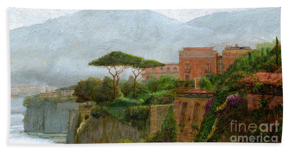Amalfi Coast; Coastal; Landscape; Italian; Italy; Mountain; Mountains; Tree; Trees; Sorrento; Albergo Hand Towel featuring the painting Sorrento Albergo by Trevor Neal