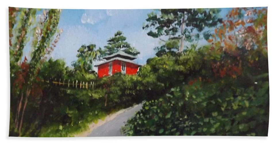 Dalkey Hand Towel featuring the painting Sorrento Park by Tony Gunning