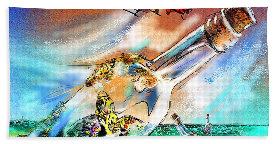 Turtles Bath Sheet featuring the painting Sos To The World by Miki De Goodaboom