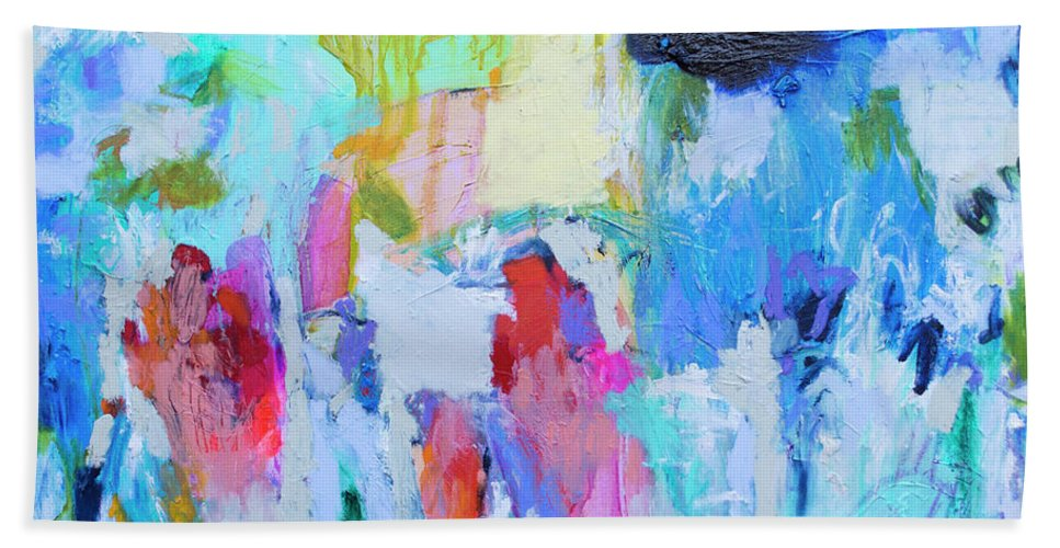 Abstract Hand Towel featuring the painting Soul Feeling by Claire Desjardins