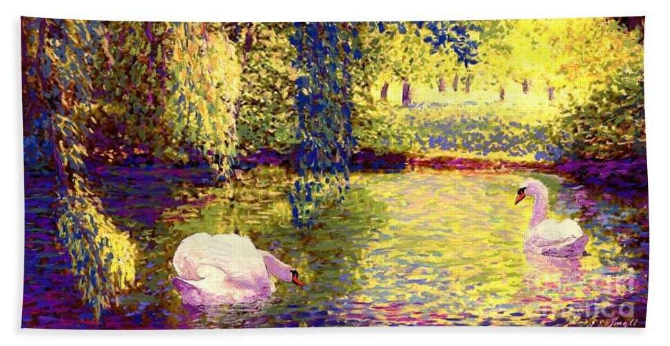 Landscape Bath Towel featuring the painting Swans, Soul Mates by Jane Small