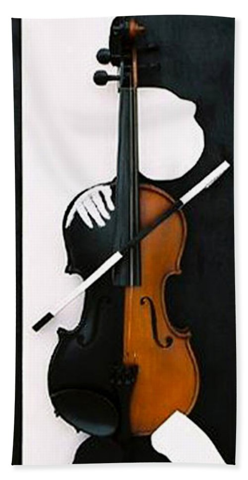 Violin Hand Towel featuring the sculpture Soul Of Music by Steve Karol