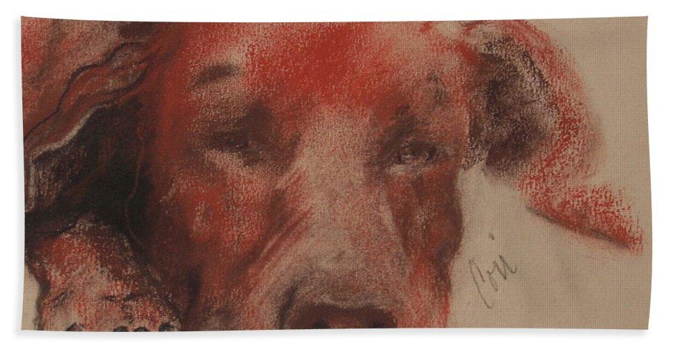 Pastel Bath Sheet featuring the drawing Soul Searcher by Cori Solomon