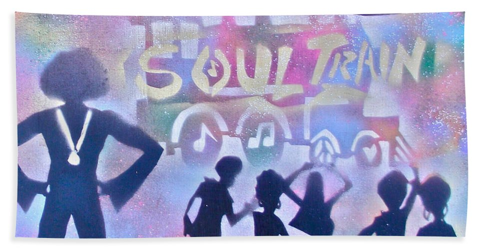 Soul Hand Towel featuring the painting Soul Train 1 by Tony B Conscious