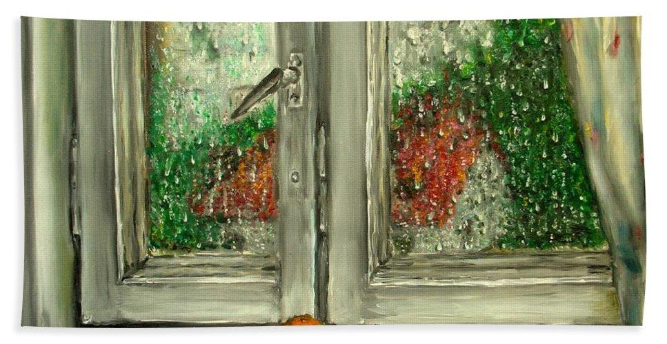Rain Bath Sheet featuring the painting Sound Of Rain Oil Painting by Natalja Picugina