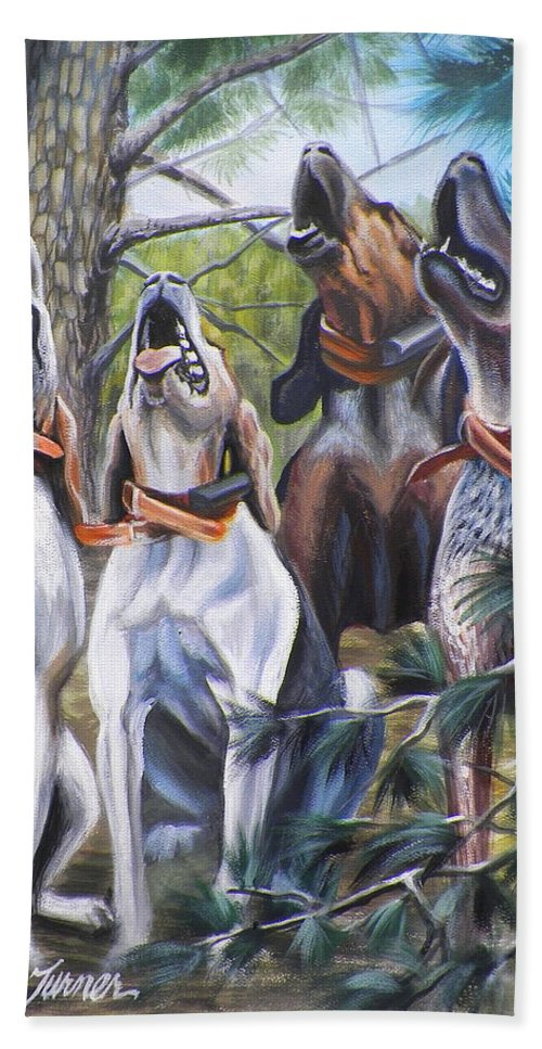 Nature Bath Sheet featuring the painting Sound Of The Hound by Monica Turner