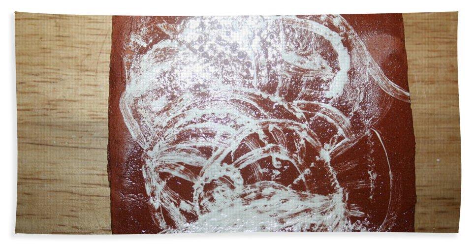 Jesus Bath Sheet featuring the ceramic art Sources -tile by Gloria Ssali