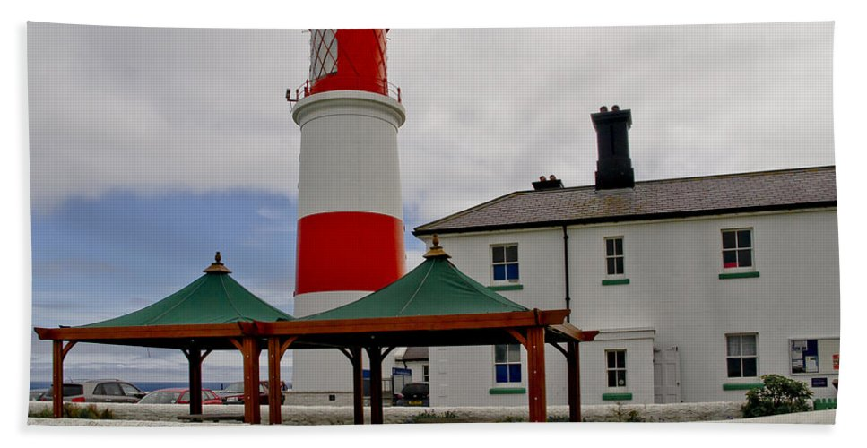 Lighthouse Hand Towel featuring the photograph Souter From Marsden. by Elena Perelman