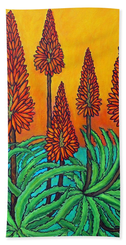 Aloe Hand Towel featuring the painting South African Fireball by Lisa Lorenz