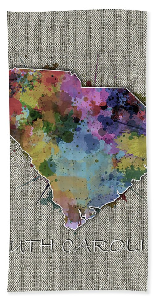 South Carolina Hand Towel featuring the digital art South Carolina Map Color Splatter 5 by Bekim Art