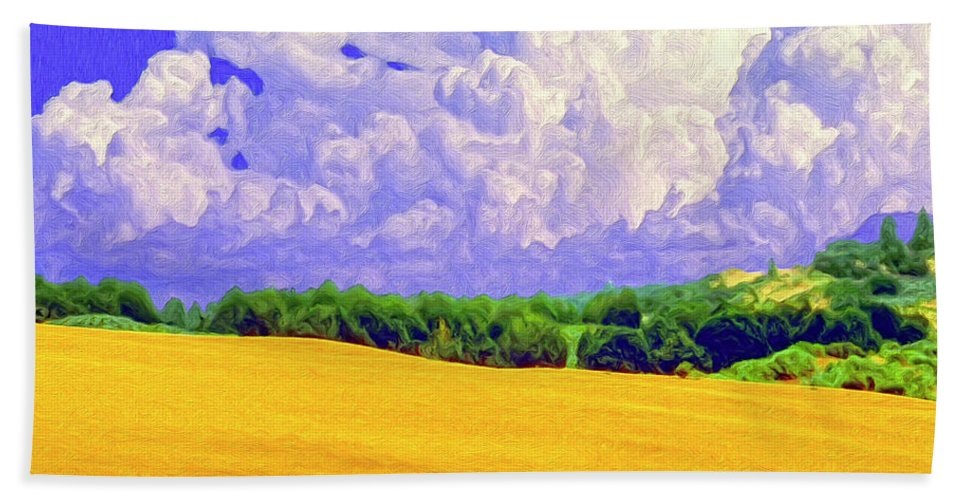 Wheat Field Hand Towel featuring the painting South Forty by Dominic Piperata