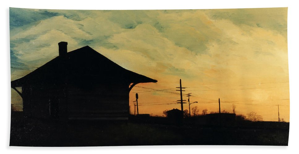 Landscape Bath Sheet featuring the painting South Holland Train Station by Rachel Christine Nowicki