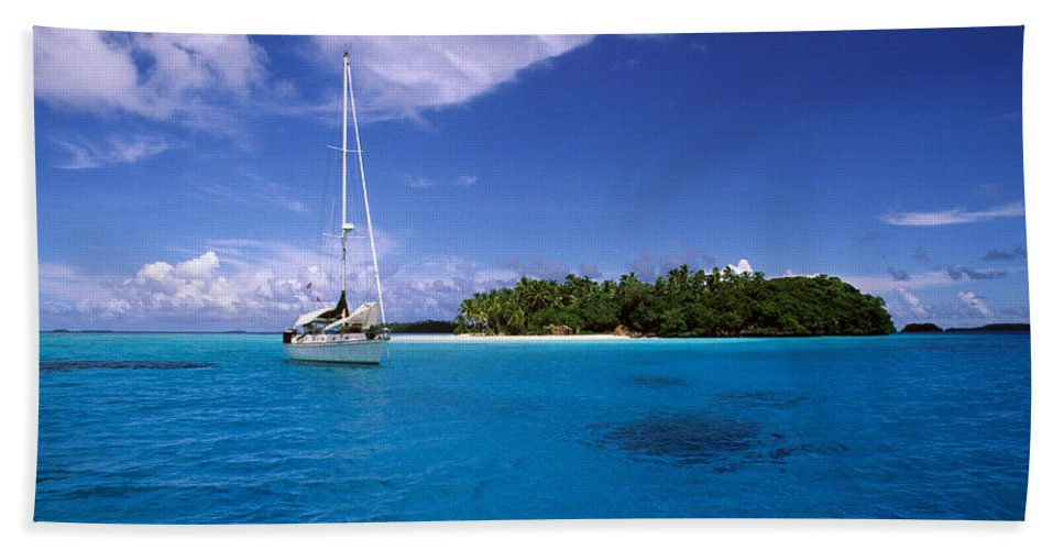 South Pacific Anchorage Hand Towel featuring the photograph South Pacific Anchorage by Steve Williams