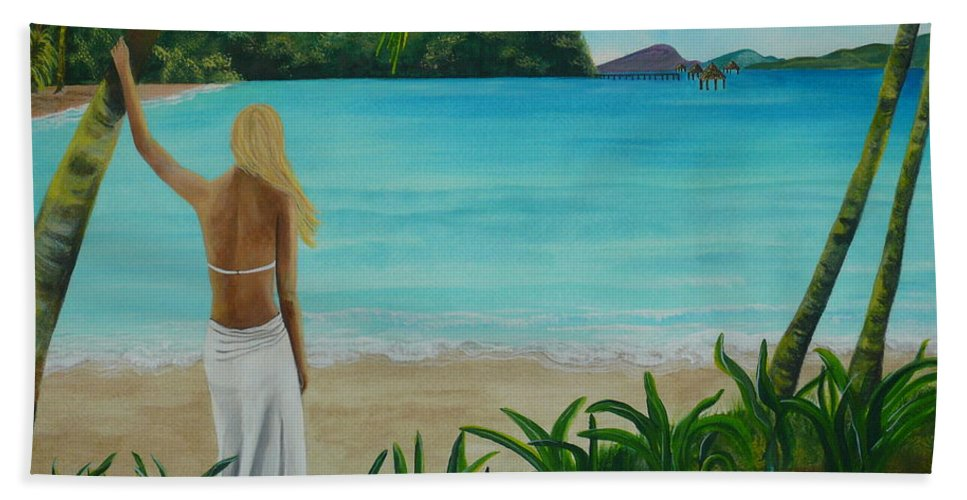 Tropical Hand Towel featuring the painting South Pacific Dreamin by Kris Crollard