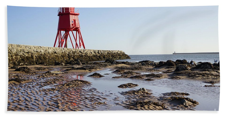South Shields Groyne Hand Towel featuring the photograph South Shields Groyne by Smart Aviation