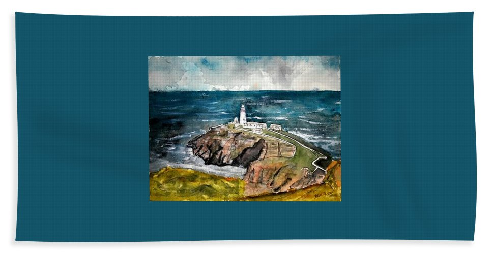 South Stack Lighthouse Hand Towel featuring the painting South Stack Lighthouse by Derek Mccrea