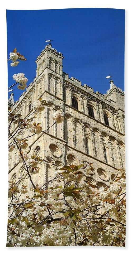 Exeter Hand Towel featuring the photograph South Tower Exeter Cathedral by Richard Brookes