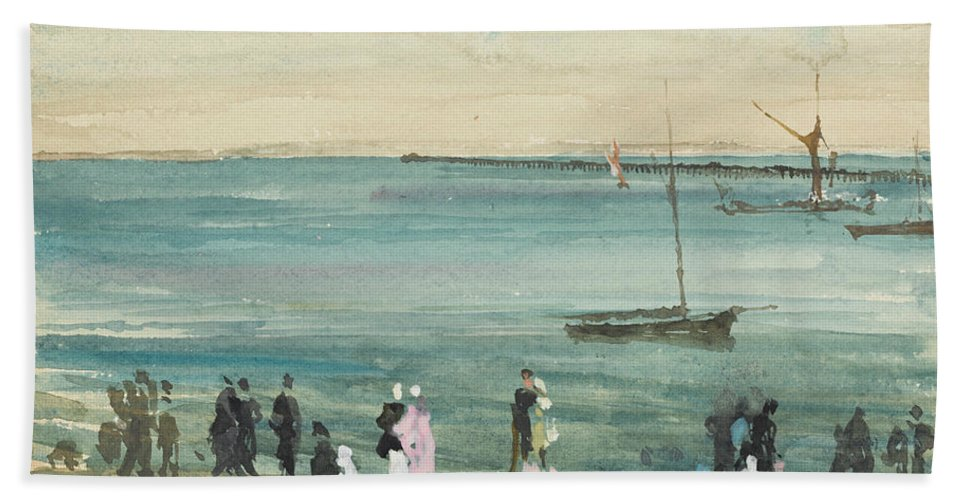 19th Century American Painters Bath Sheet featuring the painting Southend Pier by James Abbott McNeill Whistler