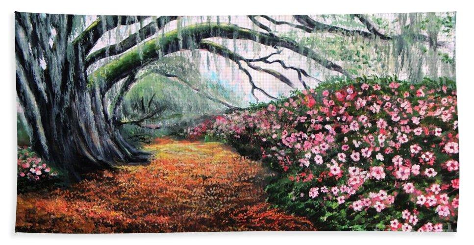 Azalea Hand Towel featuring the painting Southern Charm Oak And Azalea by Patricia L Davidson