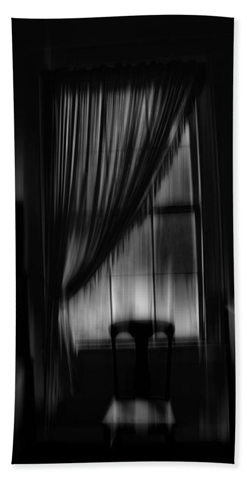 Shadow Hand Towel featuring the photograph Southern Gothic The Empty Chair by Suzanne Thurman