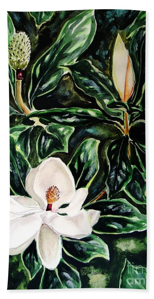 Flower Hand Towel featuring the painting Southern Magnolia Bud And Bloom by Patricia L Davidson