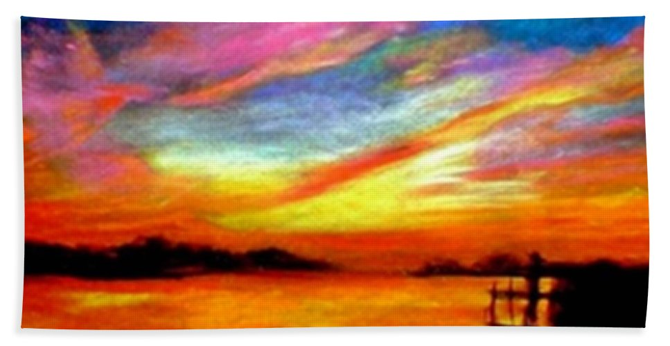 Sunset Bath Towel featuring the painting Southern Sunset by Gail Kirtz