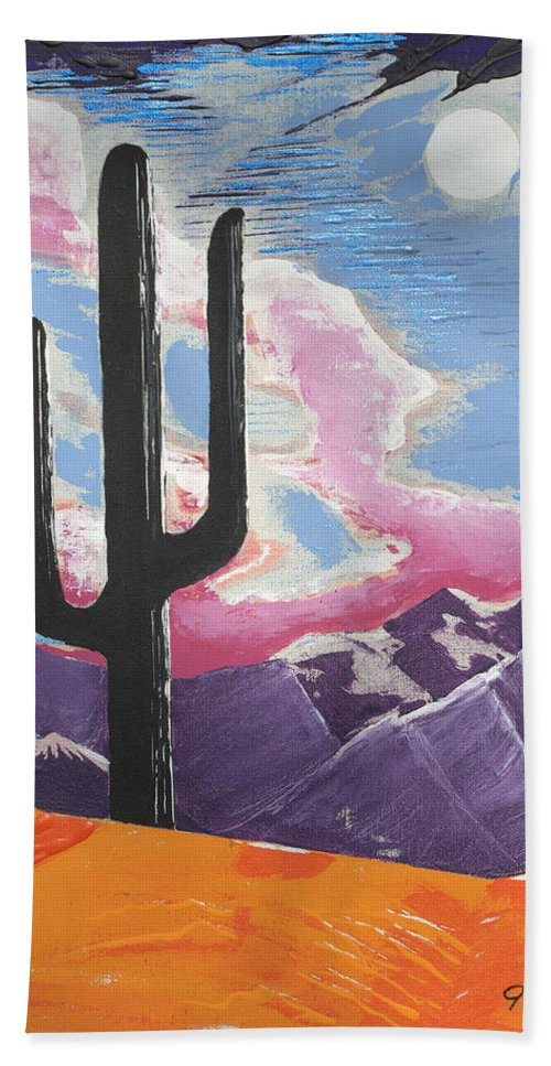 Impressionist Painting Bath Sheet featuring the painting Southwest Skies 2 by J R Seymour