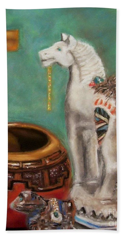 Southwest Art Hand Towel featuring the painting Southwest Treasures by Frances Marino