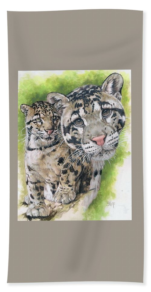 Clouded Leopard Bath Sheet featuring the mixed media Sovereignty by Barbara Keith