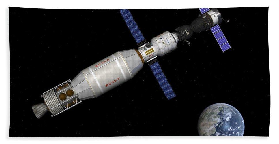 Human Spaceflight Bath Sheet featuring the digital art Soyuz Deep Space Explorer Docked Begins by Walter Myers