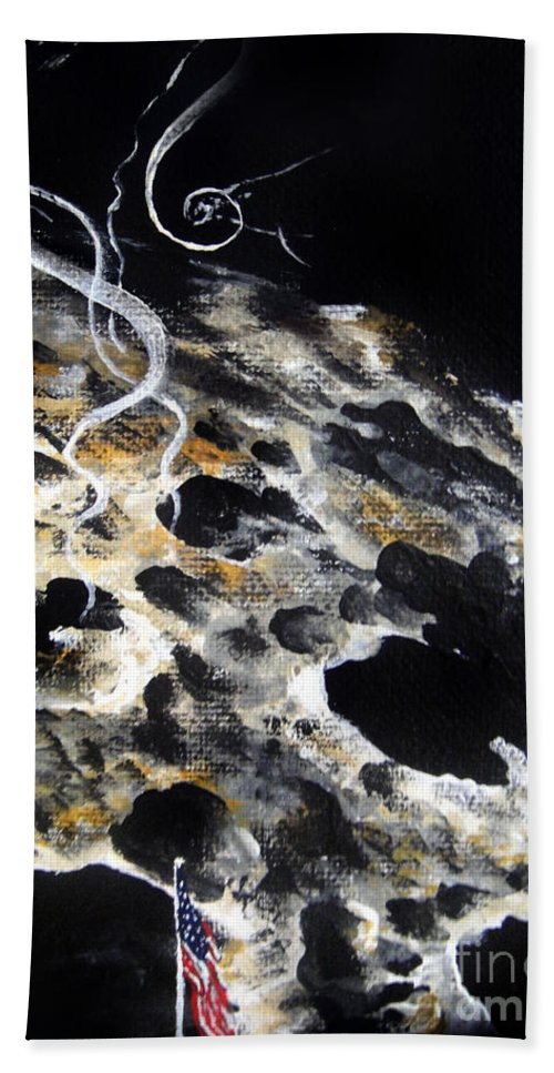 Space Hand Towel featuring the painting Space Art. Moon And Us Flag by Sofia Metal Queen