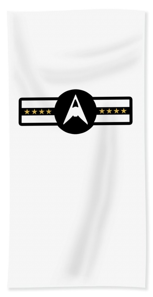 4th-of-july Hand Towel featuring the digital art Space Force Ussf United States Galactic Military Badge Trump Black by Henry B