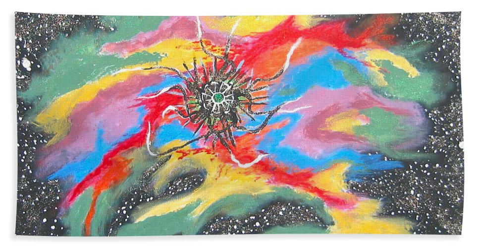 Space Bath Towel featuring the painting Space Garden by V Boge